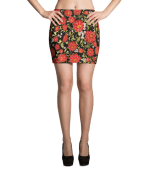 Red and White Flowers with Golden Leaves Mini Skirt