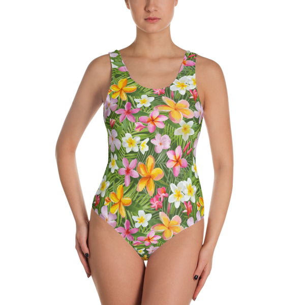 1a0e0d359511e Seamless Colorful Tropical Flowers One-Piece Swimsuit - Women's Beachwear  Bathing Suit