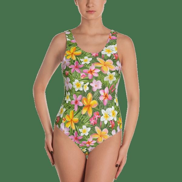 a8070e83e6 Seamless Colorful Tropical Flowers One-Piece Swimsuit - Women's Beachwear Bathing  Suit