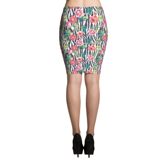 Sexy Ladies' Zebra with Flowers, Formal Cocktail Party Pencil Skirt