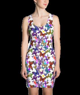 Shiny Multi Colored Butterflies Dress