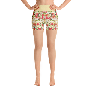 Spring Fowers Yoga Short Pants with a Small Inner Pocket