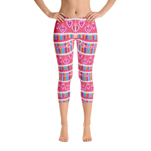 Stripes and Hearts Capri Leggings