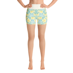 Summer Tropical Flowers and Leaves Yoga Short Pants with a Small Inner Pocket