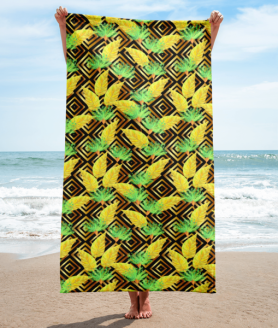 Tropical Gold Luxury Leaves and Flowers Towel