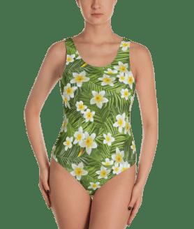 Tropical Palm Leaves & Tigers Flowers One-Piece Swimsuit - Women's Beachwear Bathing Suit