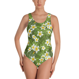 Tropical Palm Leaves & Tigers Flowers One-Piece Swimsuit - Women's Beachwear Bathing Suit