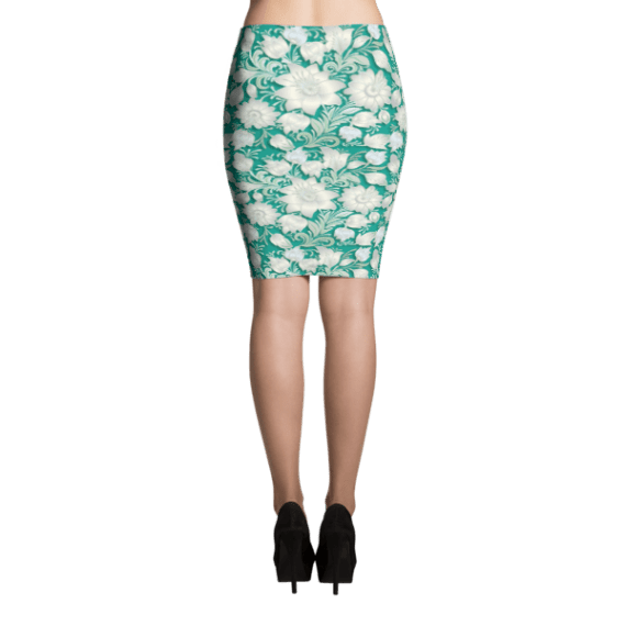 White Flowers on Turquoise Print Pencil Skirt