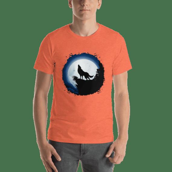 Wolf Howling at Blue Moon Short Sleeve Unisex T-Shirt