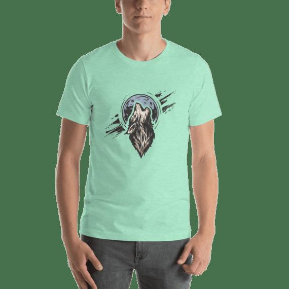 Wolf on the Moon Short Sleeve Unisex T-Shirt