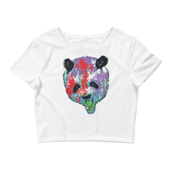 Women's Angry Colorful Panda Crop Top