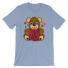 Women's Bear Love with Realistic Red Rose Short Sleeve T-Shirt