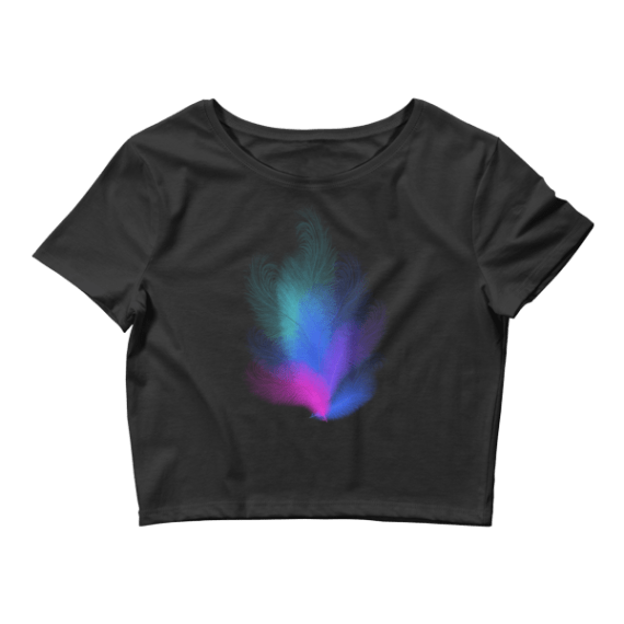 Women's Colorful Feathers Crop Top
