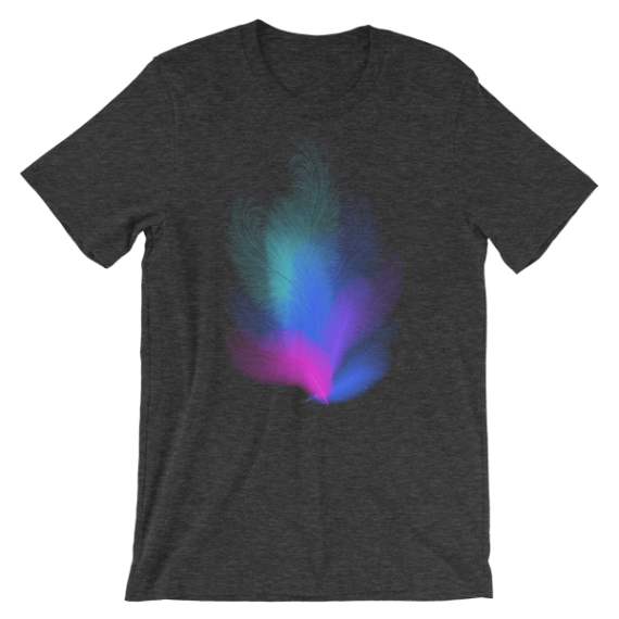 Women's Colorful Feathers Short Sleeve T-Shirt