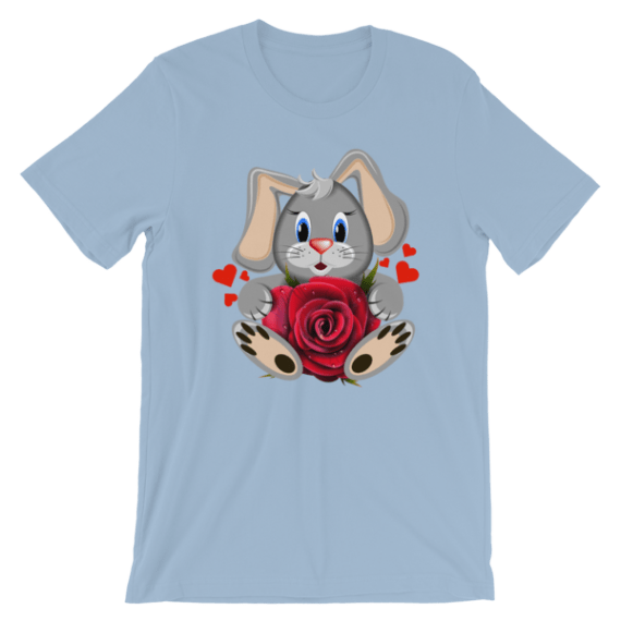 Women's Cute Bunny with Red Hearts and Rose Short Sleeve T-Shirt - Love Shirts