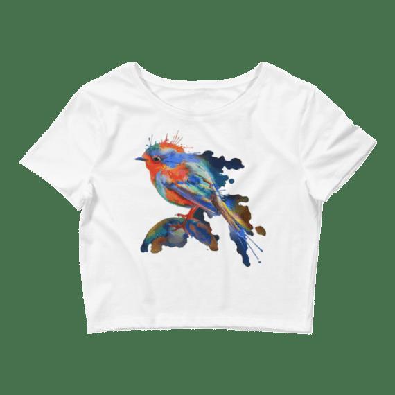 Women's Cute Watercolor Bird Crop Top