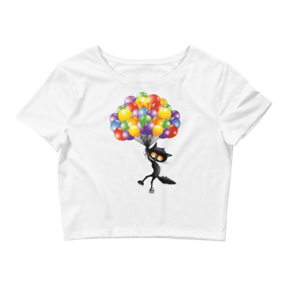 Women's Funny Black Cat Flying with Balloons Crop Top