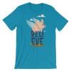 Women's Funny Flying pig Shirt - Believe You Can Fly Short Sleeve T-Shirt