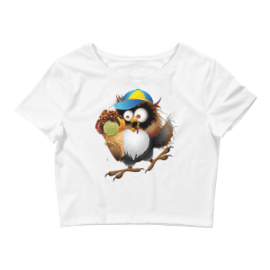 Women's Funny Owl Eating Ice Cream - Hot Summer Crop Top