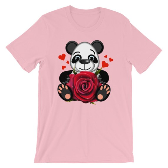 Women's Love Panda with Realistic Red Rose Short Sleeve T-Shirt