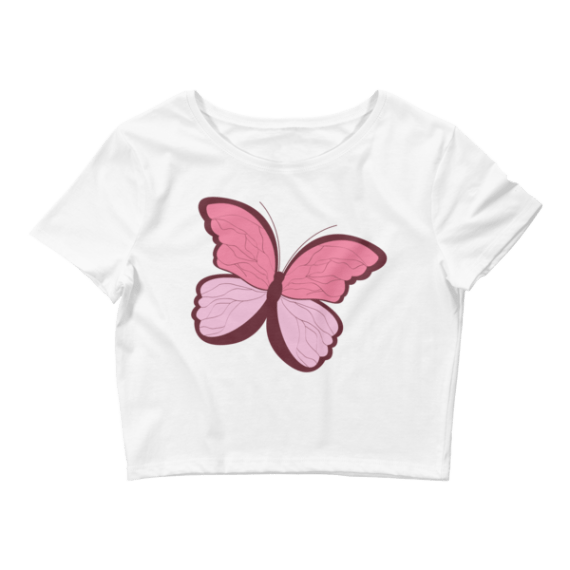 Women's Pink Butterfly Crop Top