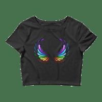 Women's Rainbow Angel Wings Crop Top