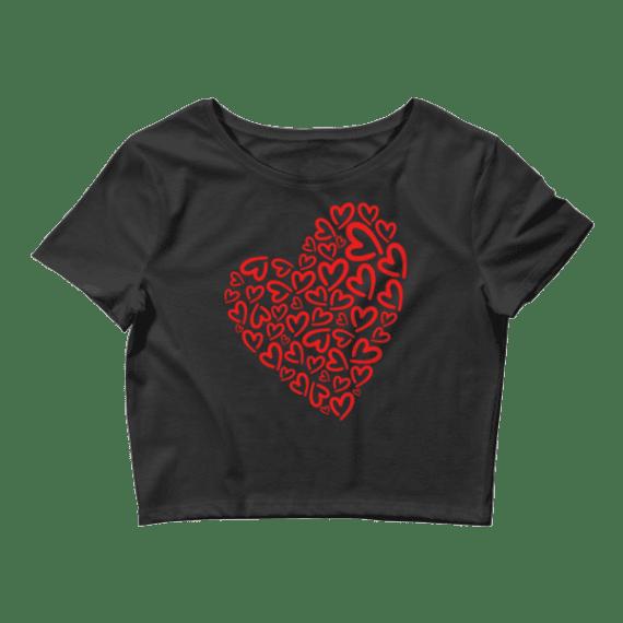 Women's Red Hearts Crop Top