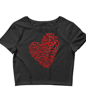 Women's Red Hearts Crop Top