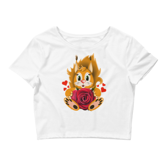 Women's Romantic Lion with Realistic Rose Crop Top