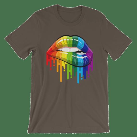 Women's Sexy Rainbow Lips Short Sleeve T-Shirt