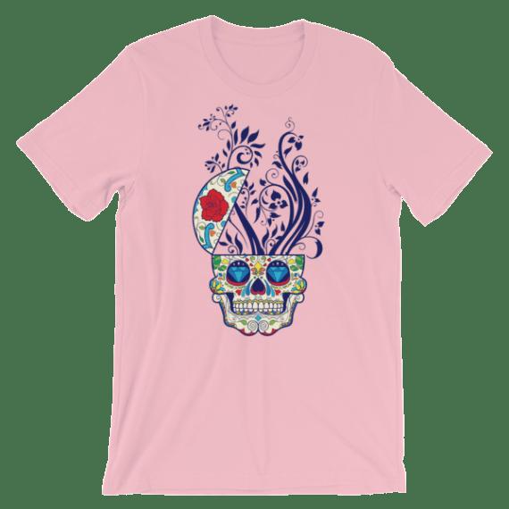 Women's Sugar Skull and Floral Print Short Sleeve T-Shirt