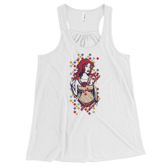 Women's Cute Red Haired Lady Flowy Racerback Tank Top