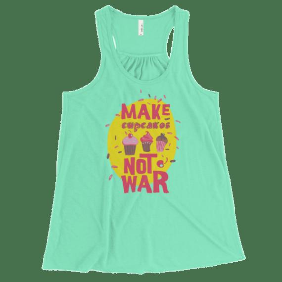 Women's Make Cupcakes Not War Flowy Racerback Tank Top