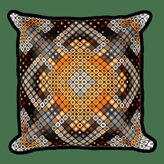 Checkered Ornamental Print Square Pillow