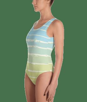 Classical Light Blue, Yellow Striped One-Piece Swimsuit - Ladies' Beachwear Bathing Suit