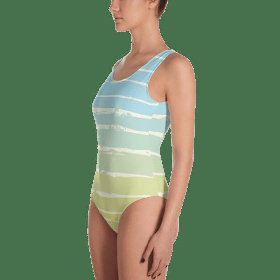 c09c6e01b59 Classical Light Blue, Yellow Striped One-Piece Swimsuit - Ladies' Beachwear  Bathing Suit