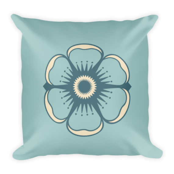 Cute Flower on Light Blue Background Square Pillow
