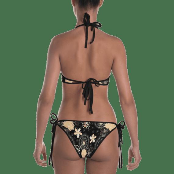 Dandelions With Floral Ornament Reversible Bikini - Women's Beachwear Bathing Suit