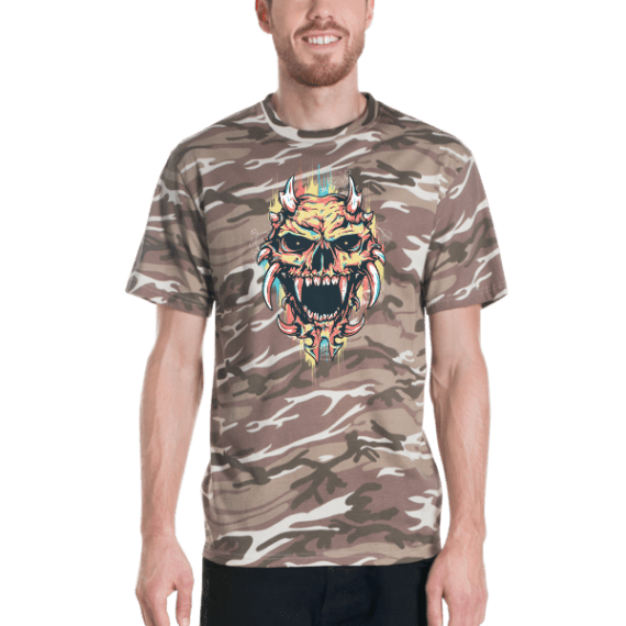 Demon Skull Short sleeved camouflage t-shirt