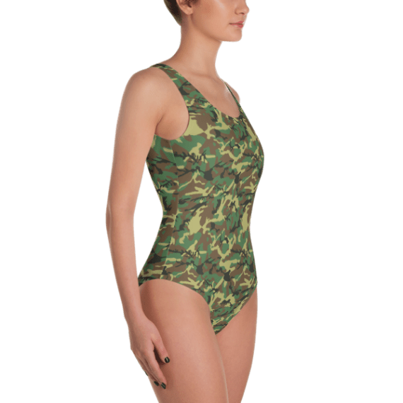Exclusive Best Printed Army Camouflage Fashion One Piece Swimsuit - Special Strong Girl's Camo One Piece Bodysuit - Ladies' Beachwear Bathing Suit