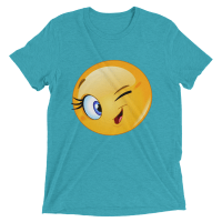 Female Emoji Winking TShirt, Funny smiley Face Short sleeve women's t-shirt
