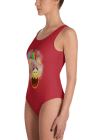 Funny Round Yellow Smiley Face Emoji One Piece Swimsuit - Women's Party Beachwear Bathing Suit