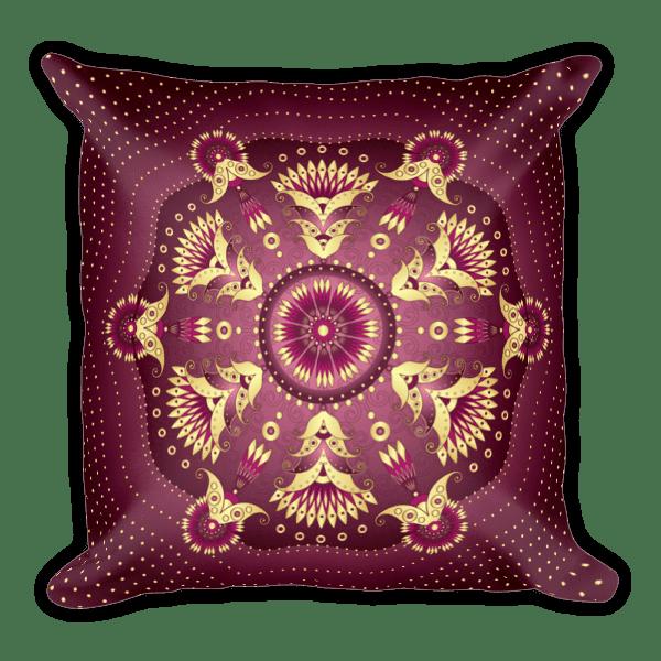 Gold-Purple Pea Flowers Square Pillow
