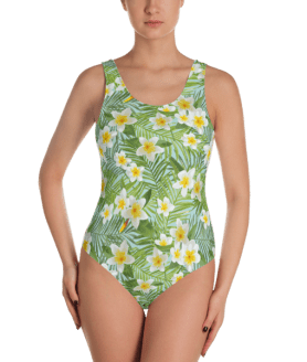 Green Tropical Forest Vibes Leaves and Flowers Print One Piece Swimsuit - Women's Beachwear Bathing Suit
