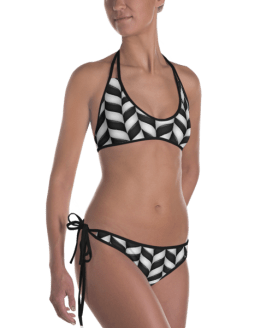 Ladies' Fun Wear Hot Two Pieces Clear Sexy Green and Black Sweet Swirly Lollipops Candy Print On Top And Bottom Reversible Bikini - Women's Beachwear Bathing Suit