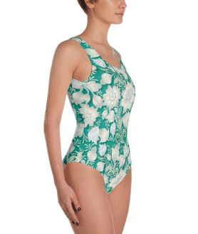 Ladies' Fun Wear Sexy Vintage Floral Ornament on Turquoise Print One Piece Swimsuit - Women's Beachwear Bathing Suit