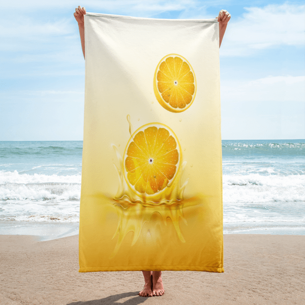 Lemon drop on juice splash towel