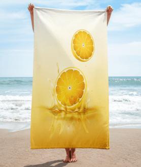 Lemon drop on juice splash towel