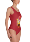 Lovable Round Yellow Smiley Face with Red Heart Emoji One Piece Swimsuit - Women's Beachwear Bathing Suit