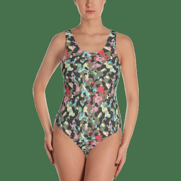 88244ba77e4 Multicolor Fashion Woodland Camouflage One Piece Swimsuit – Ladies' Colored  Military Camo Beachwear Bathing Suit